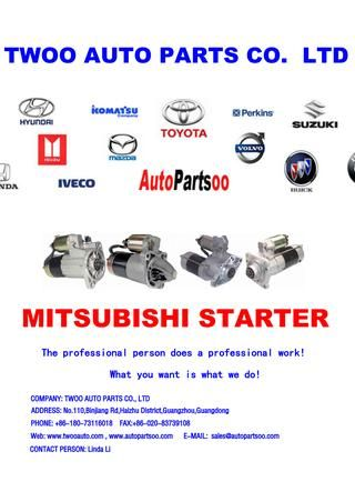 Mitsubishi starter motor from twoo auto parts co ltd | NEW STARTER