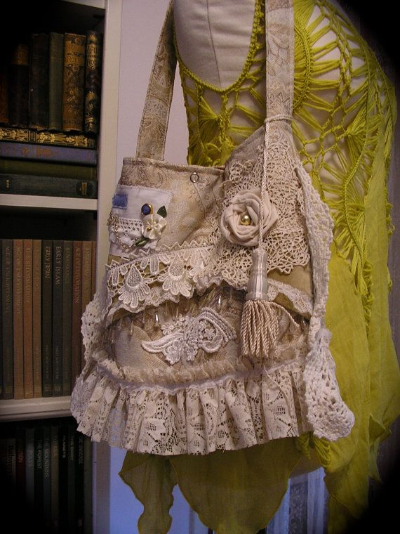 Shabby Vintage Purse, handmade Victorian bag, crocheted doily, ruffled lace