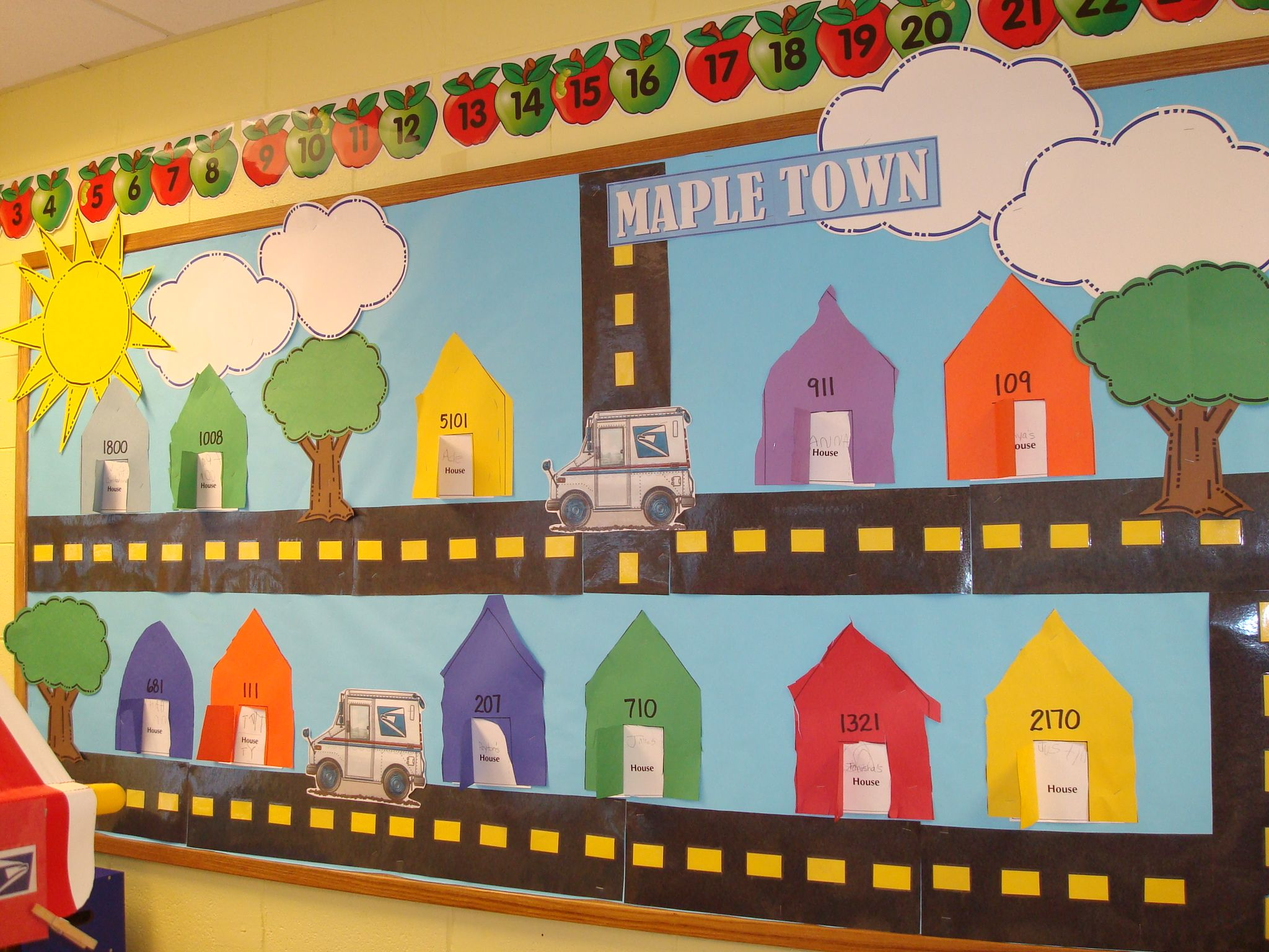 Bulletin Board For Construction Post Office And Transportation Kids Made Houses With Their
