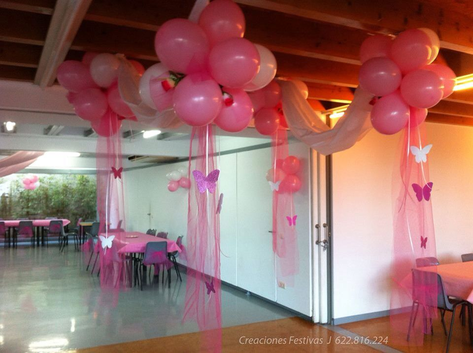 15 a os rosados con tela globos y mariposas decoraci n for Decoracion casa anos 80
