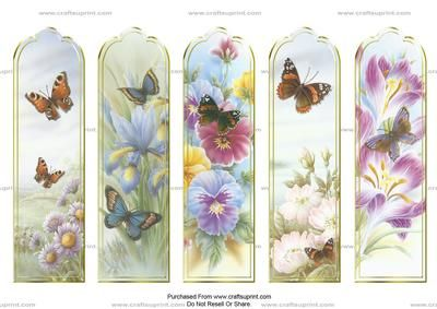 Rob Pohl Butterfly Bookmarks on Craftsuprint designed by Crafty Bob - These beautiful bookmarks will make a perfect keepsake or gift. Simply print and cut out, then add a tassel or ribbon if you wish to : ) - Now available for download!