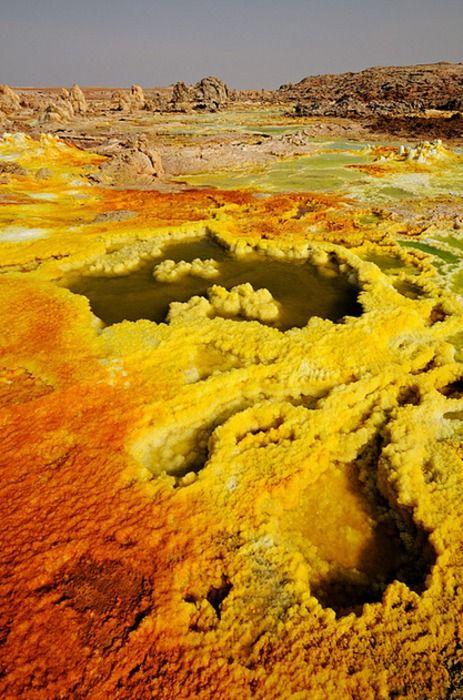 Dallol volcano in the Danakil desert, Ethiopia #nature #sulfur #desert #color #volcano #ethiopia #photography #landscape