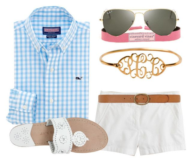 """""""Frat Friday"""" by alexkay98 ❤ liked on Polyvore featuring J.Crew, Vineyard Vines, Ray-Ban, Dorothy Perkins, Jack Rogers, women's clothing, women, female, woman and misses"""