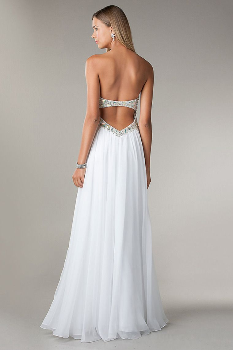 strapless ruffled white chiffon beaded backless floor