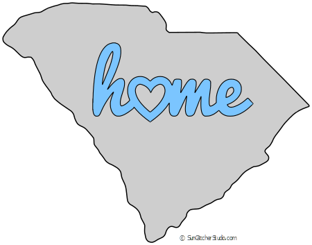 South Carolina Map Outline Printable State Shape Stencil Pattern Stencil Patterns Templates Map Outline Leather Working Patterns
