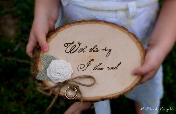 OH MY GOSH MUST HAVE Rustic ring pillow 3295 rusticwedding