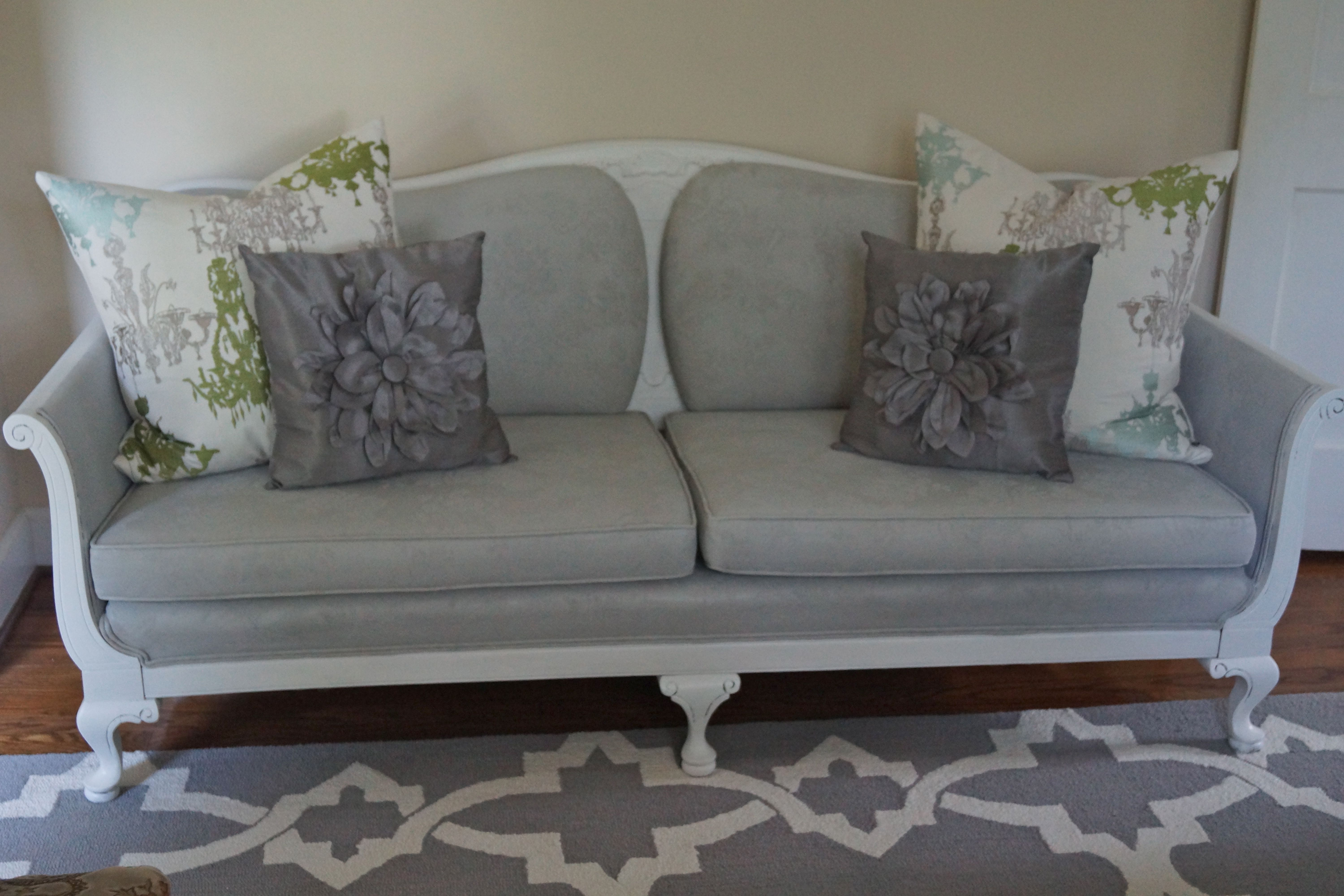 Antique Queen Anne Sofa Fabric Painted Dove Gray With