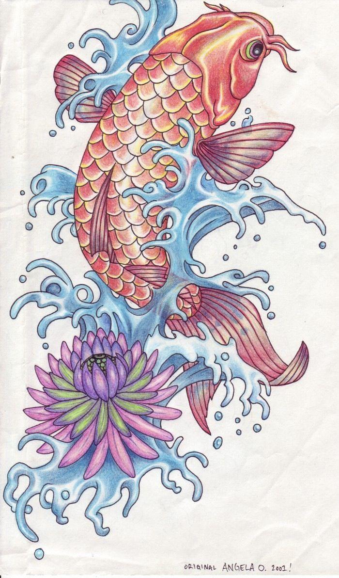 Koi In Water Tattoo Koi Fish Drawing Koi Art Koi Fish Designs