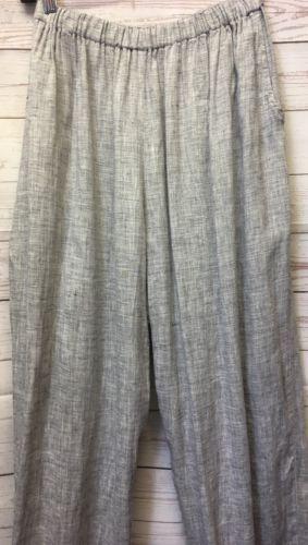 FLAX Engelhart Sz M Black & White 100% Linen Elastic Waist Straight Leg Pants