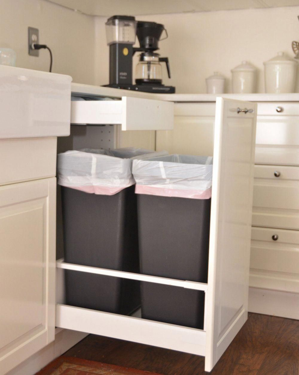 Download Wallpaper Tall White Kitchen Trash Can