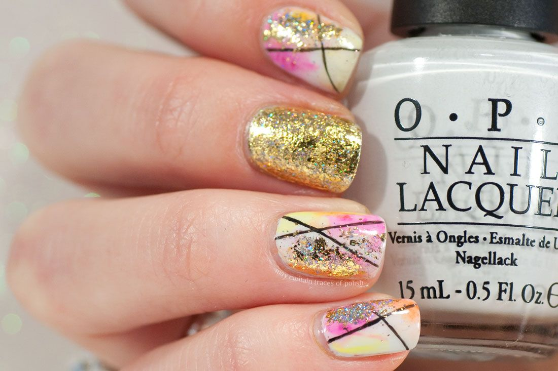 Photo of Watercolour and Gold Accent Nail Art