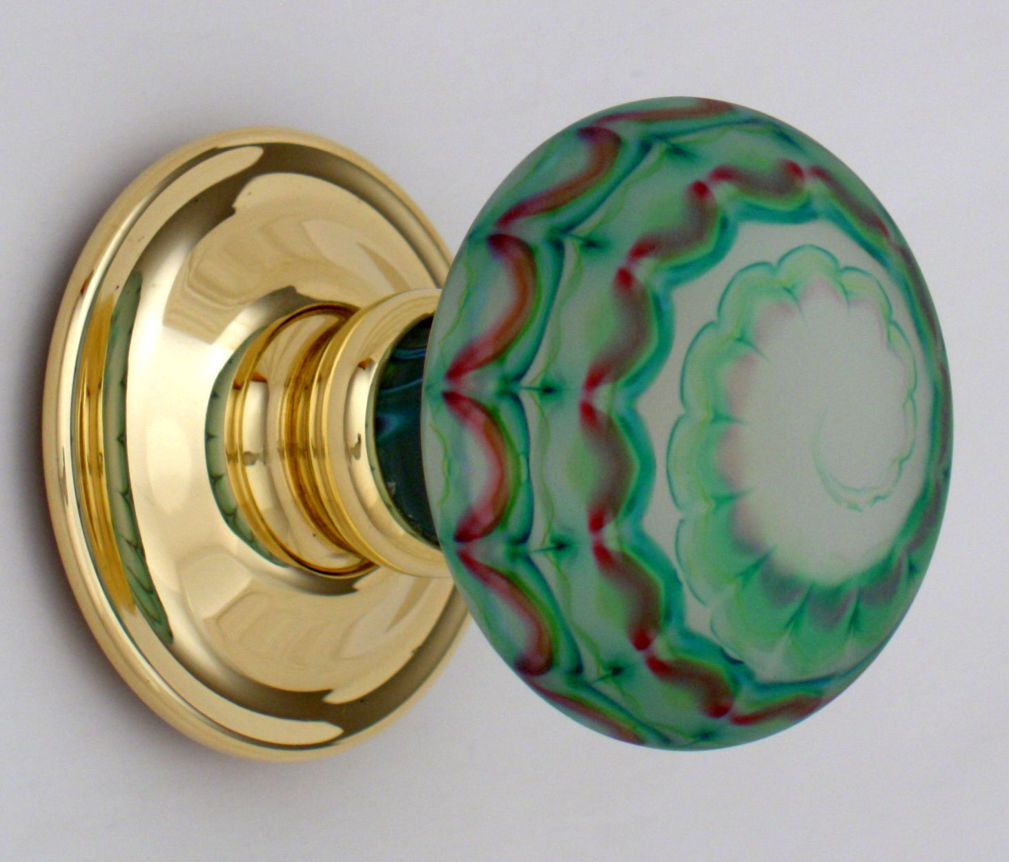 Artisan glass knob swirls of green and red by Merlin Glass | Door ...