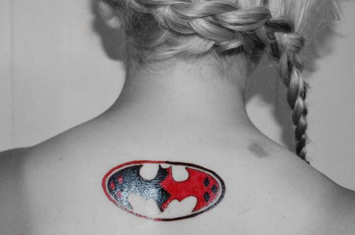 Harley Quinn Symbol Tattoo On Girl Upper Back Tattoos Pinterest