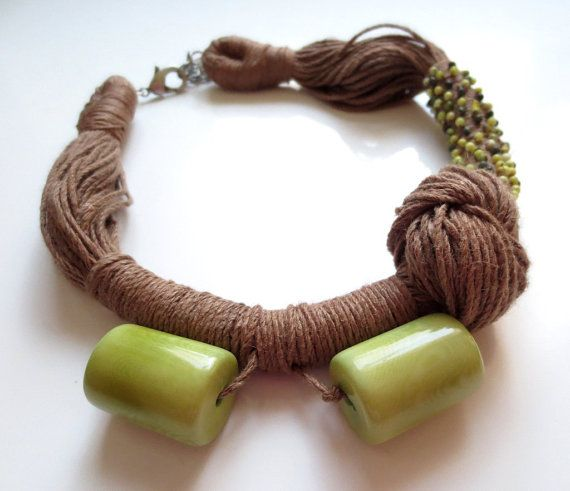 Tagua Nut Necklace, Linen Necklace, Green Tagua Nut Beads, Turquoise Beads Linen…