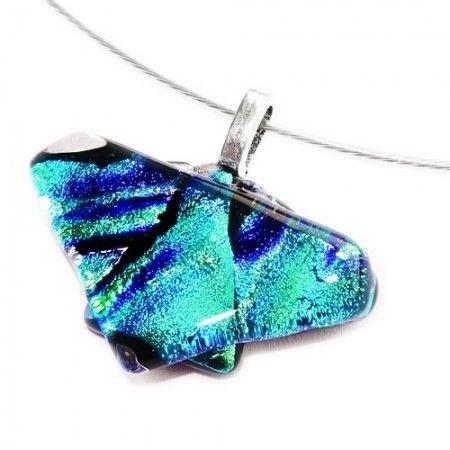 Fraaie blauw met groene glashanger van luxe gemêleerd dichroide glas.