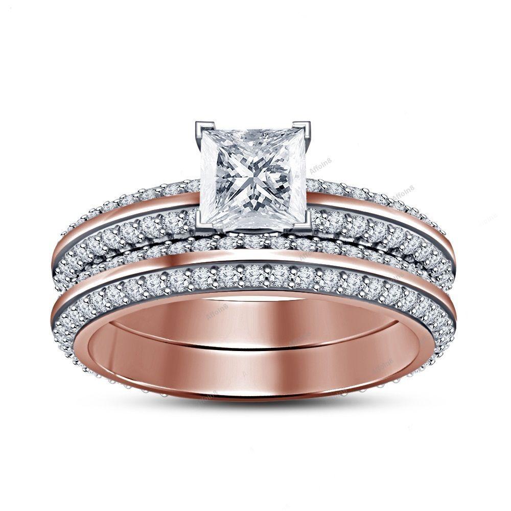 2.10CT Princess Cut Diamond 925 Silver Knife Edge Shank Bridal Wedding Ring Set  #affoin8