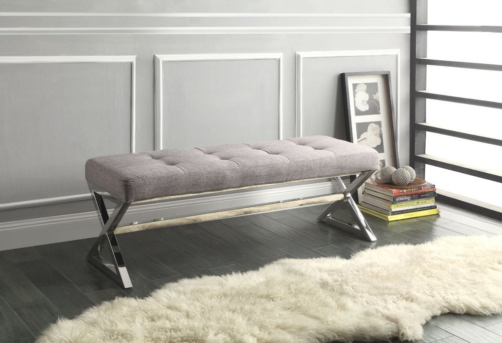 Tufted X Leg Bench Grey Gray Chrome Metal Ottoman Seating