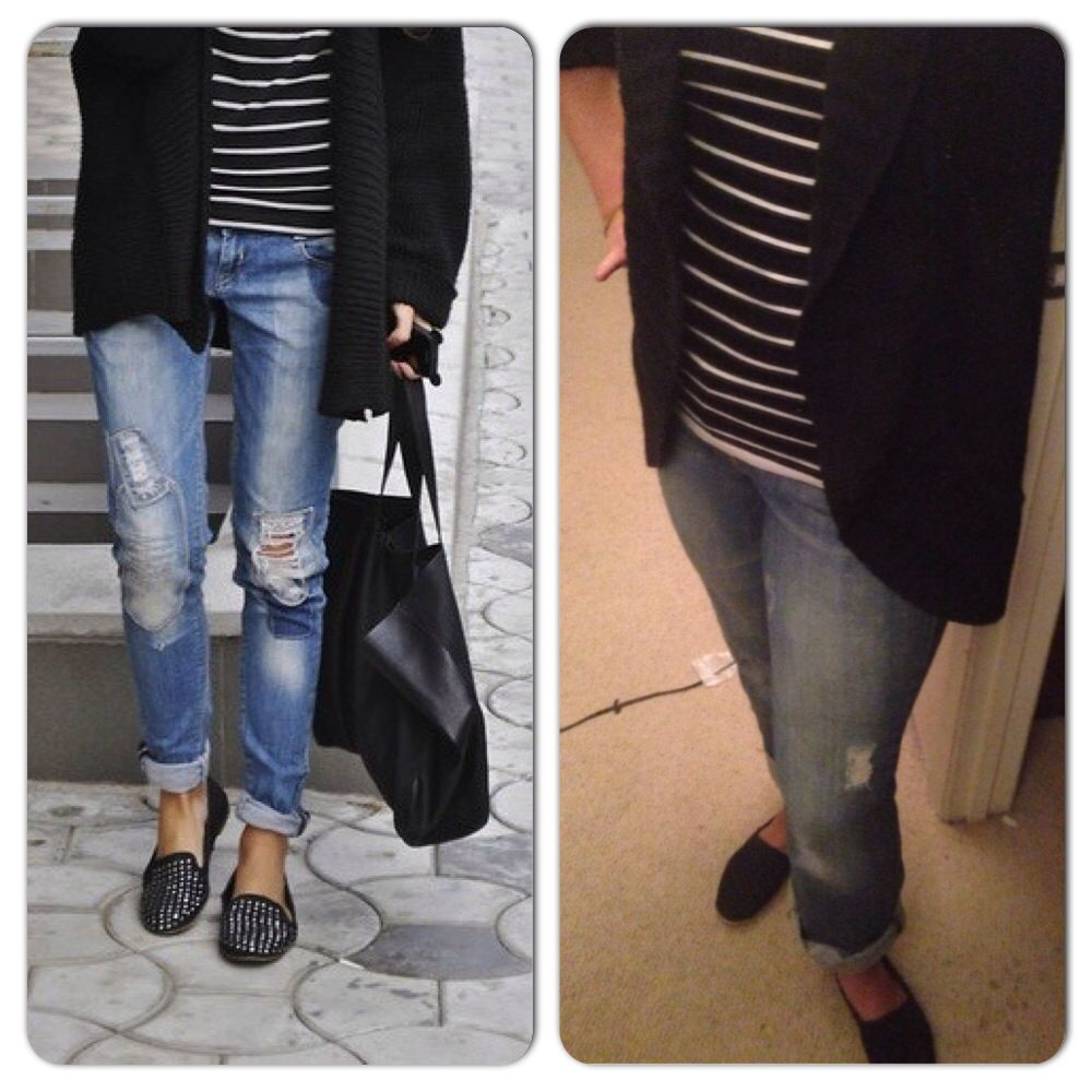 Black and white stripe top-Ross Black Chunky Cardigan-T.J. Maxx Jeans-Gap Outlet Black Toms