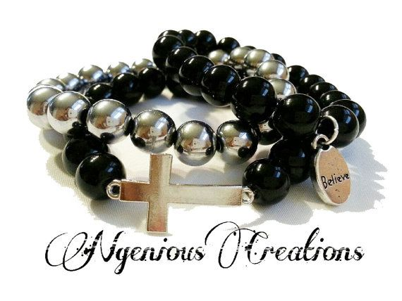3pc Inspirational Cross Bracelet Set  (Available in 7 colors) by NGeniousCreations, $20.00