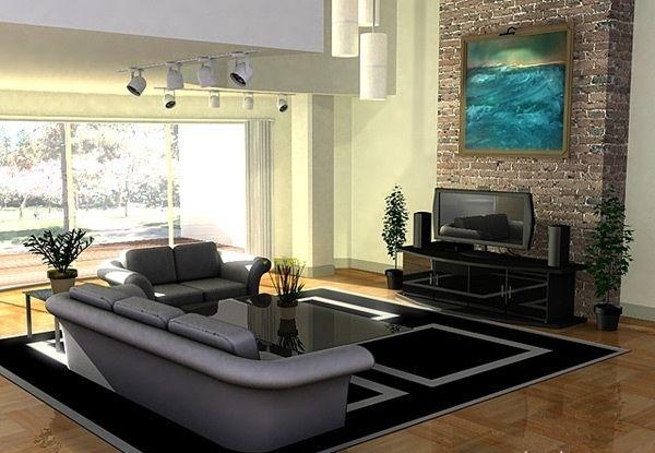 Salas modernas decoradas con piedras dise o de for Diseno de interiores salas pequenas