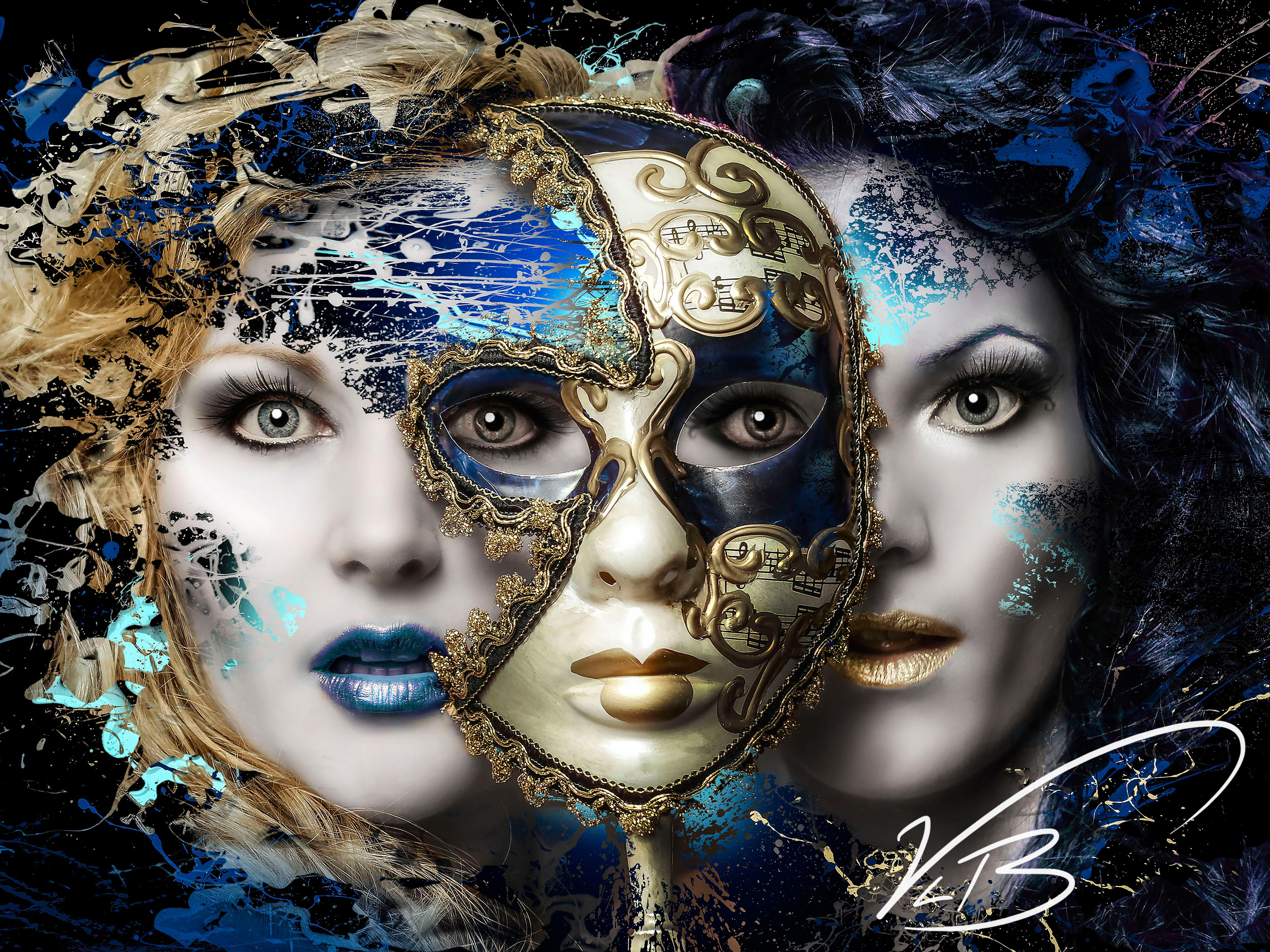 We Are Three Two Women With Mask. Digital Art, Avant Garde ...