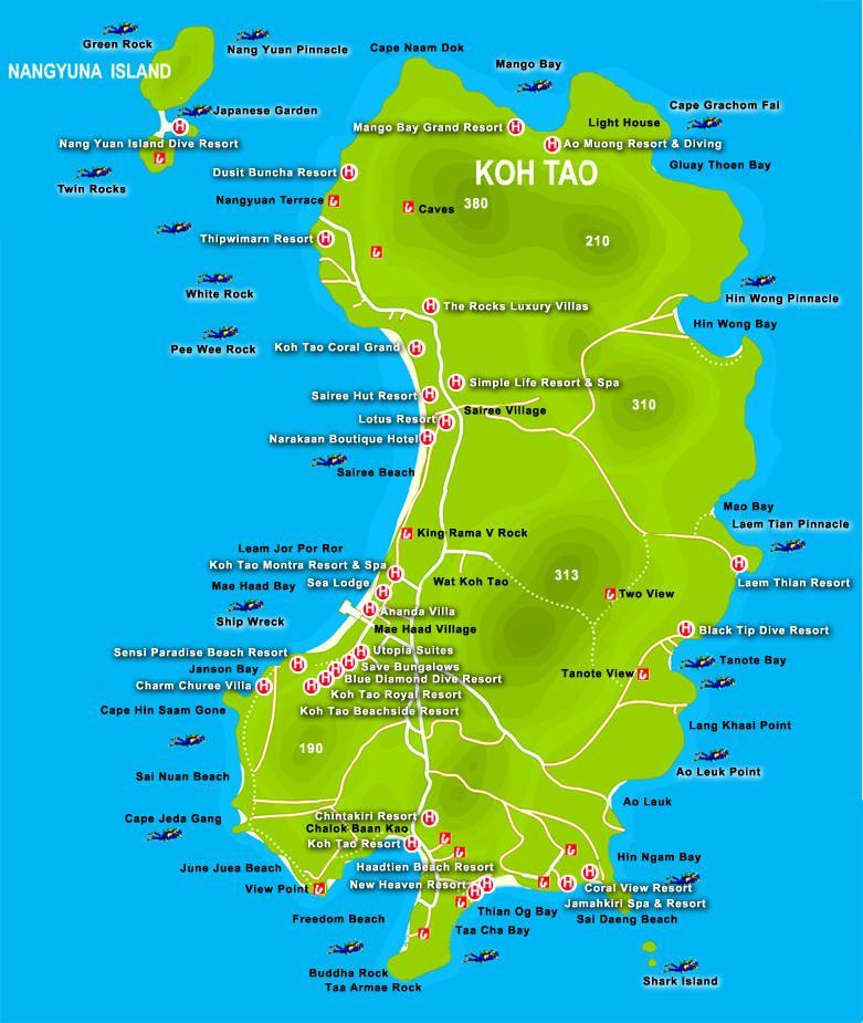 Koh Tao Island Thailand Map