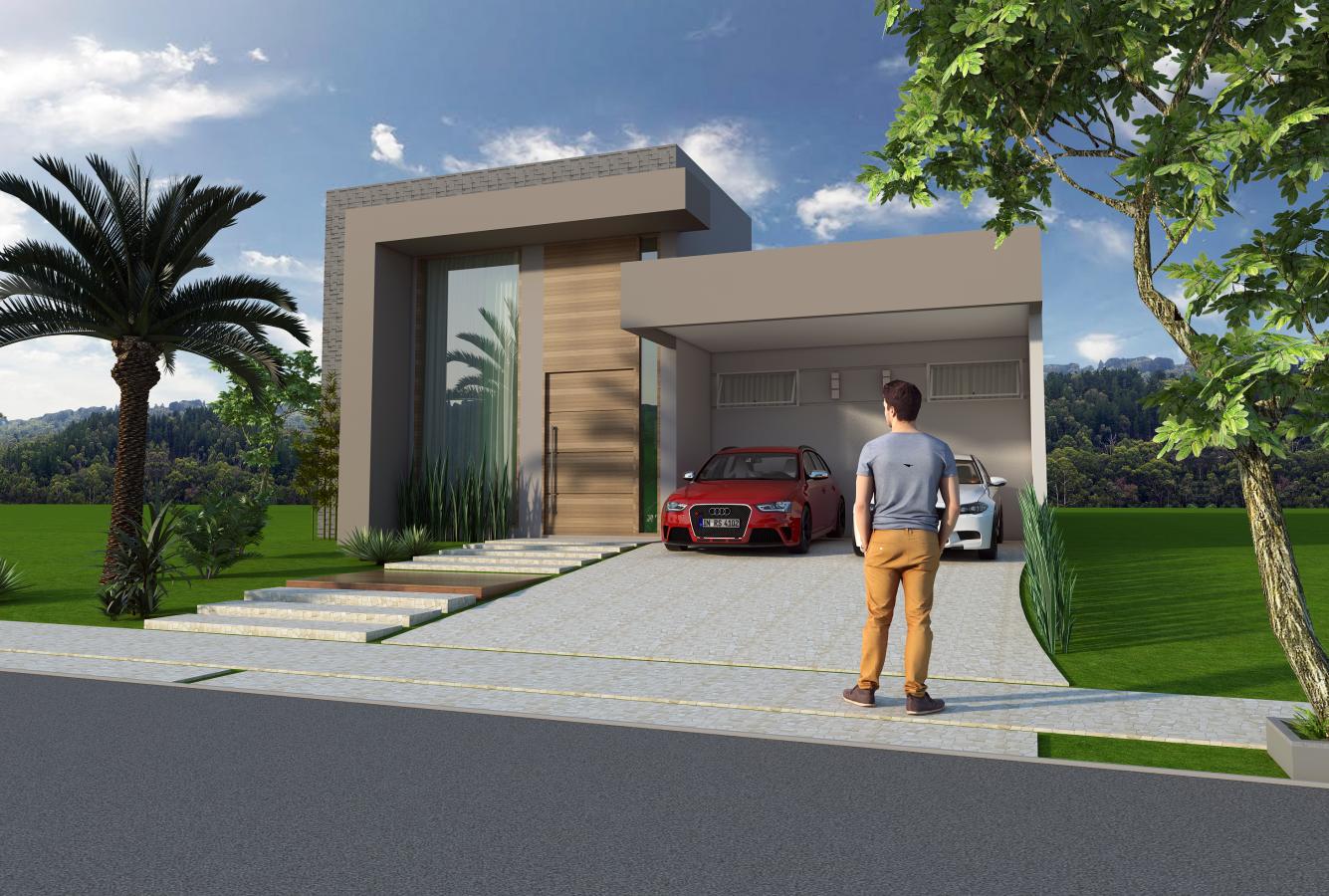 Projeto 140m2 casa t rrea fachada moderna linhas retas pedireito alto terreno 10 25 condominio - Progettare casa 3d gratis ...
