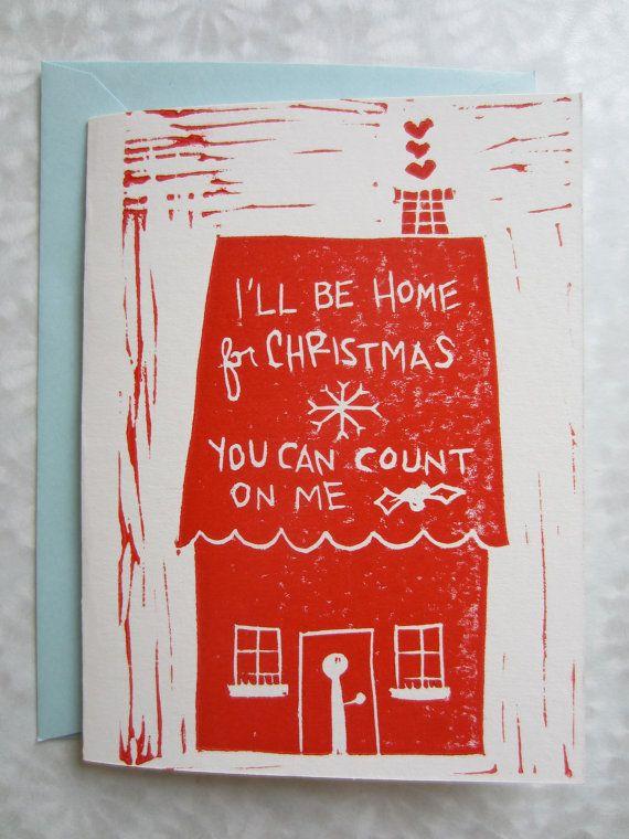 I'll be home for christmas handmade red song lyrics illustration ...