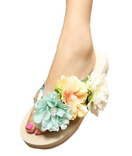 1d8f3298bc00b7 Donalworld Girl Beach Flip Flops Handmade Flower Slipper Summer Flat Sandals  Pt4 Asia Size 39 -