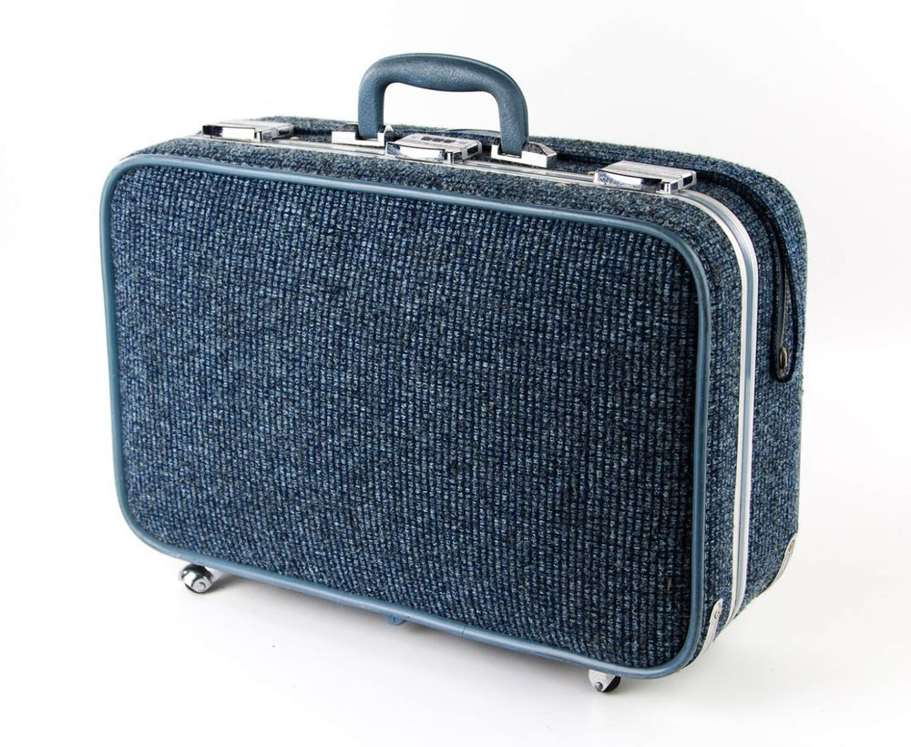 Vintage SKYWAY 1960s Small Blue Tweed Retro Rolling Suitcase ...