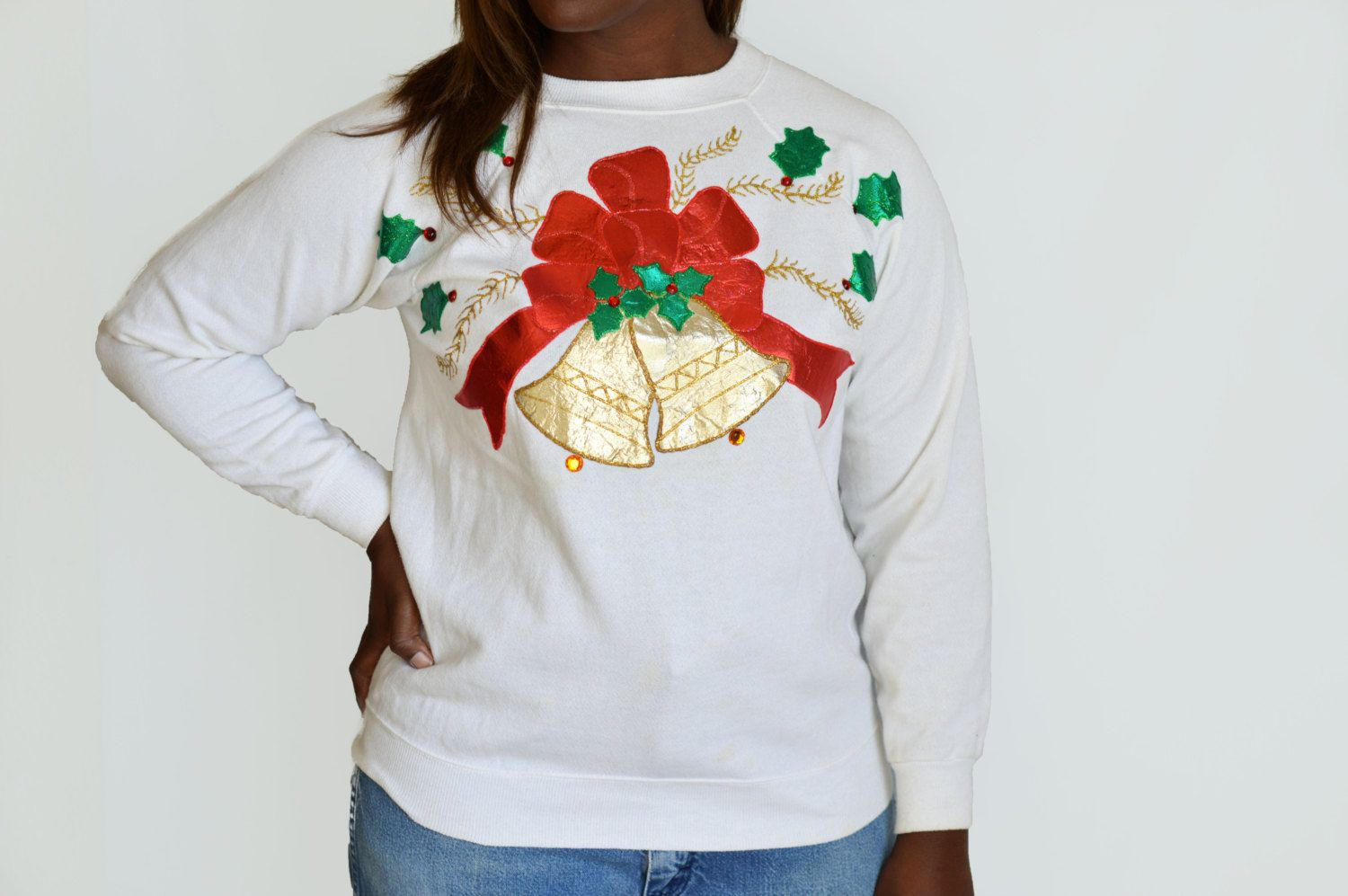 90's Tacky Ugly Christmas Sweater with Large Gold Bell/ Puff Paint ...