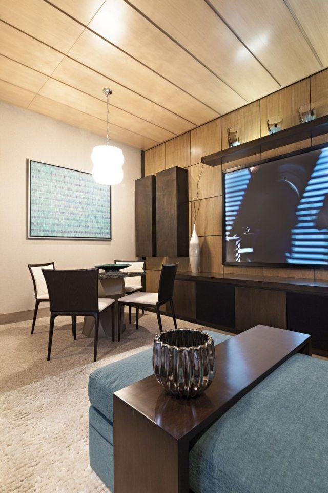 Decke Wand-Verkleidung mit-Holz Platten-Loft WohnungCasa Sorteo - holz decke moderne einrichtung ideen