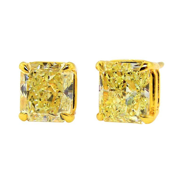 Natural Canary Radiant Cut Diamond Earrings 6 04 Carats Total