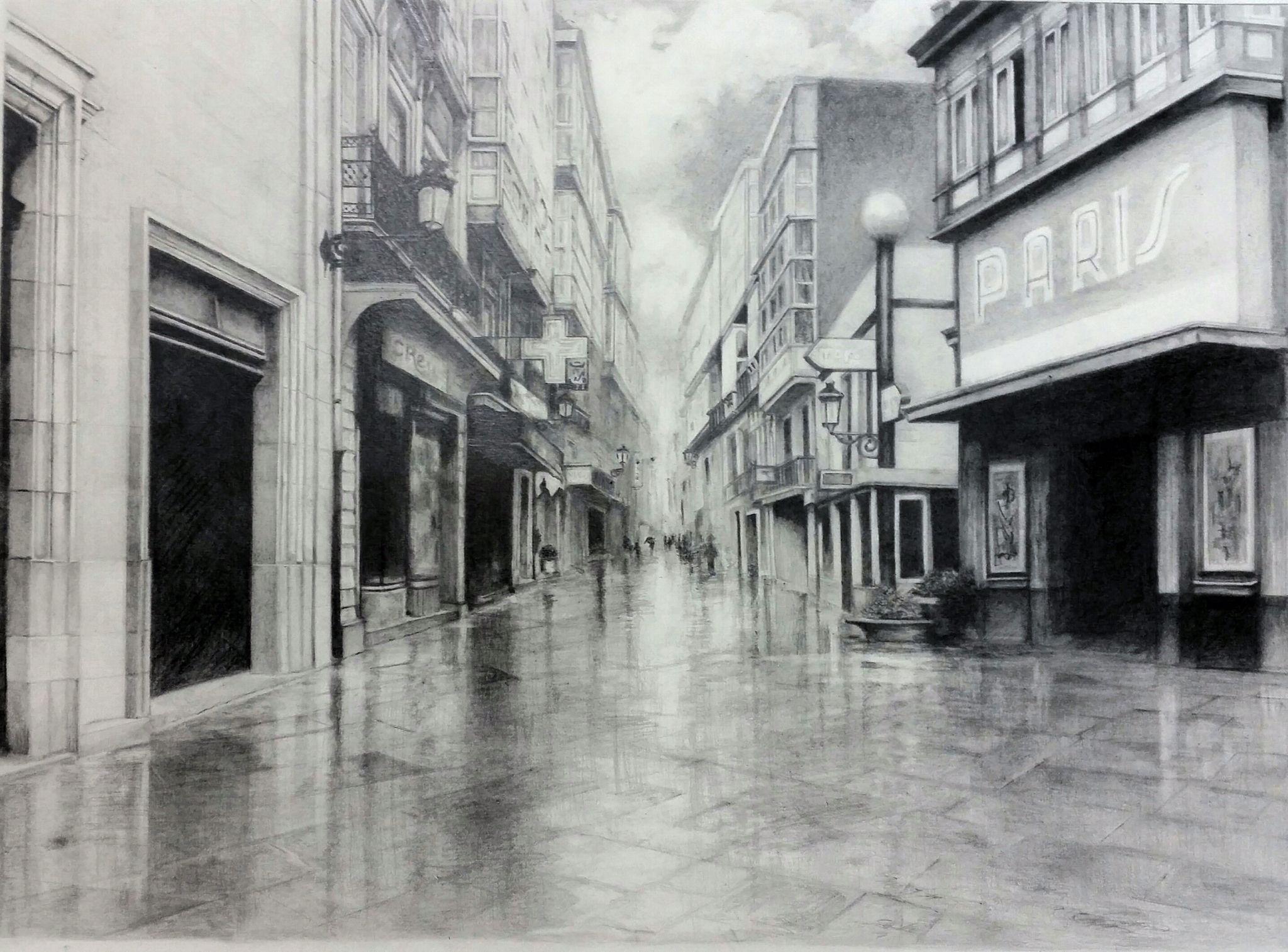 Dibujo A Lapiz Calle Real A Coruna Dibujos Fotos A Coruna