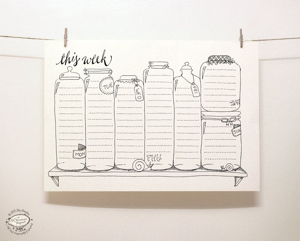 doodle perpetual weekly planner organizer por skygoodies en etsy b cher selbst machen. Black Bedroom Furniture Sets. Home Design Ideas