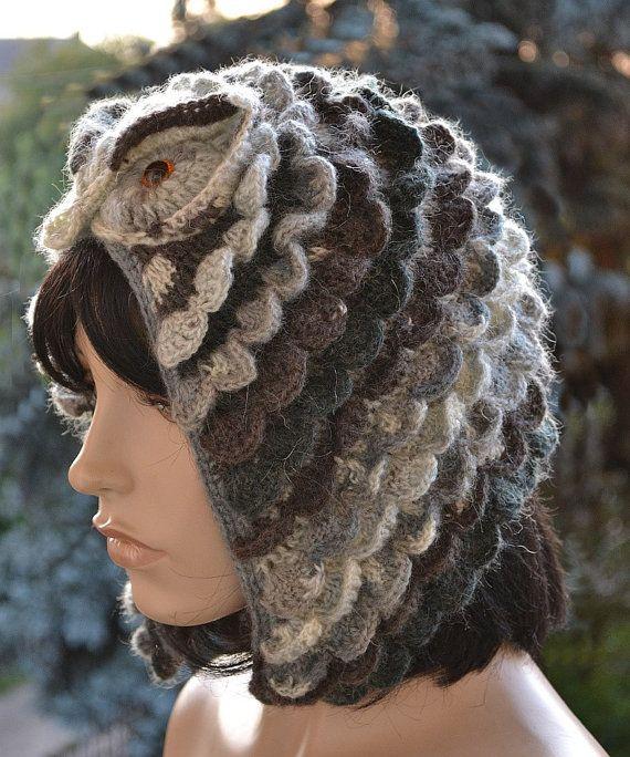 Crocheted cap Owl ;o) Colour gray,dark gray,brown, Accessories ...