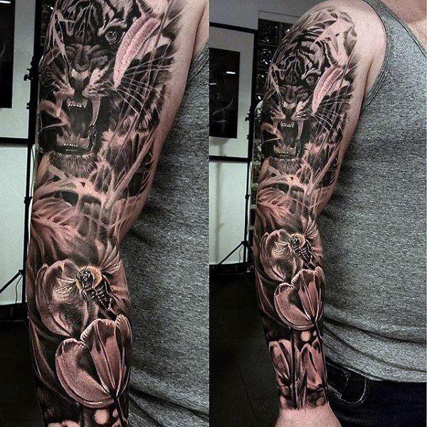 tattoo tiger sleeve men 39 s designs tigres pinterest tigers tattoo and tiger tattoo. Black Bedroom Furniture Sets. Home Design Ideas