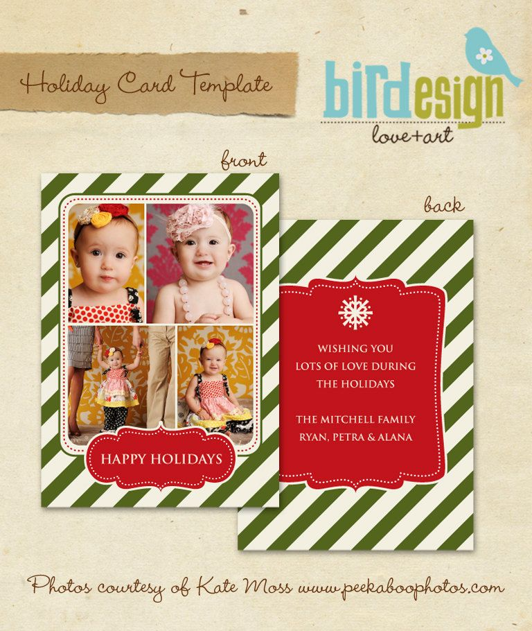 Psd Holiday Card Template  Vintage Happy Holidays  E