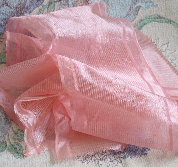 Antique Pink Sheer Silk Ribbon 5.5 Wide