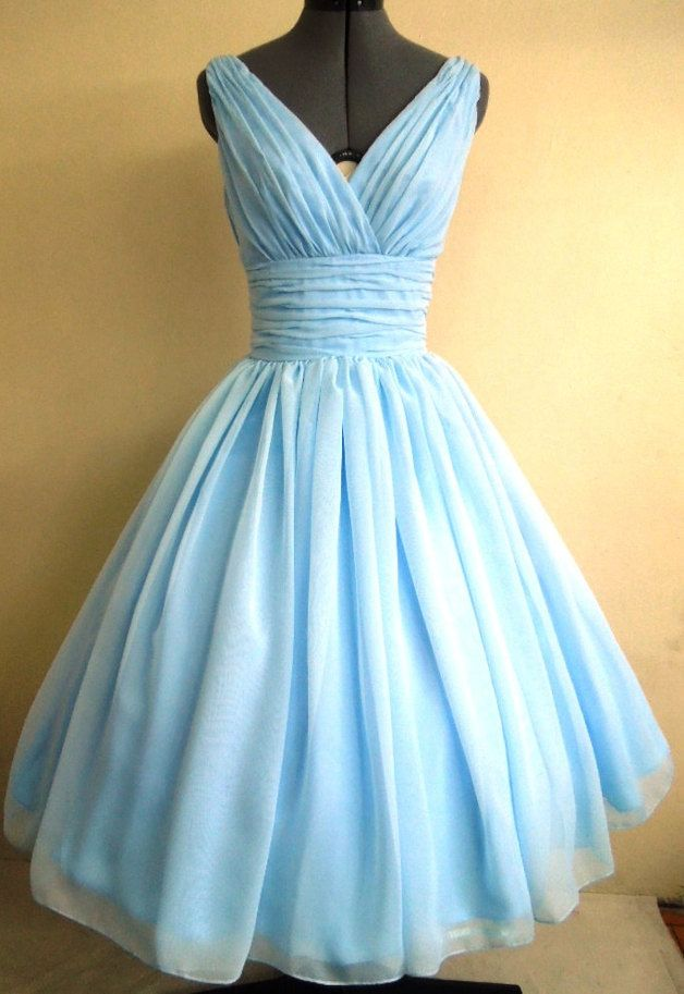 50s style gown, tea length dress sky blue chiffon | Style, Gowns ...