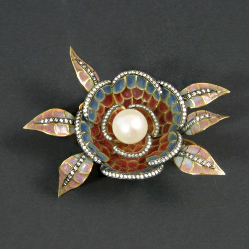 Lady s 18k yellow & white gold cultured pearl & diamond brooch in a hand-crafted Art Noveau-style plique-a-jour blue, orange, mauve & beige enameled glass floral motif of...