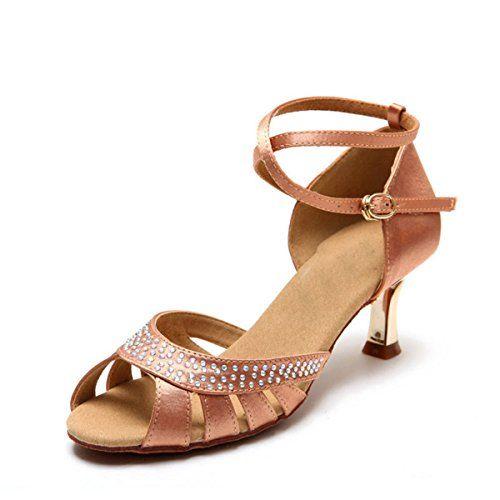 Miyoopark KS123 Womens Crystals Nude Satin Latin Salsa Ballroom Wedding Sandals 10 US Read