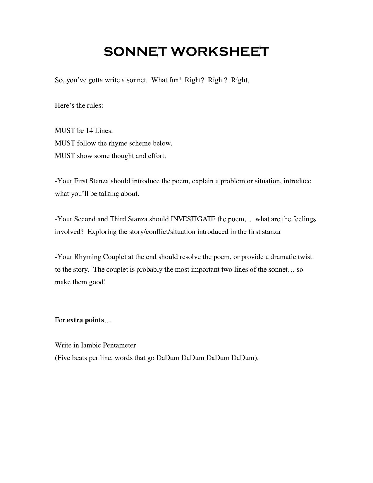Sonnets Worksheets