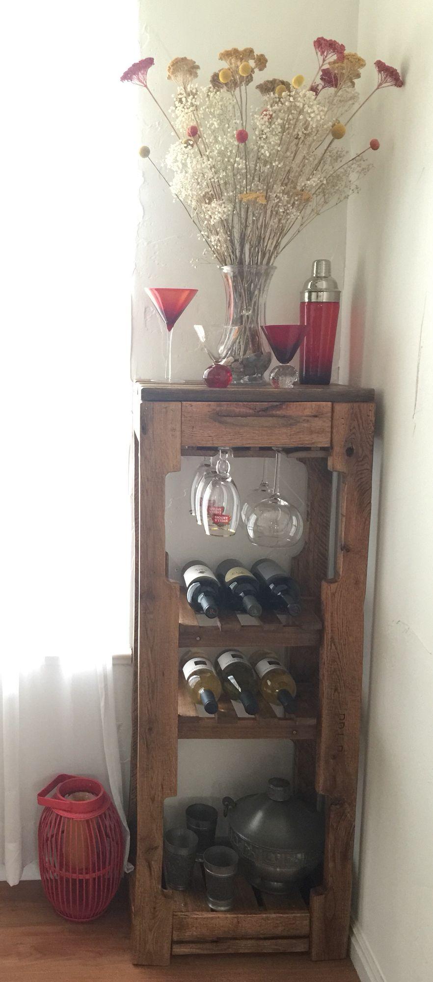 Hand crafted diy pallet wood wine rack shelves hanging
