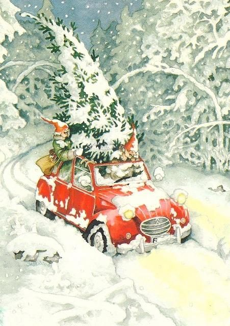 Picking up christmas tree by Inge Löök