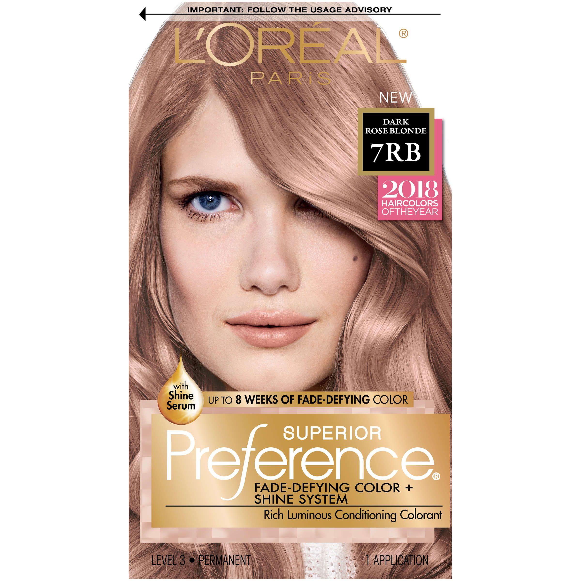 L Oreal Paris Superior Preference Permanent Hair Color 7rb Dark Rose Blonde 1 Kit Walmart Com Rose Blonde Permanent Hair Color Hair Color