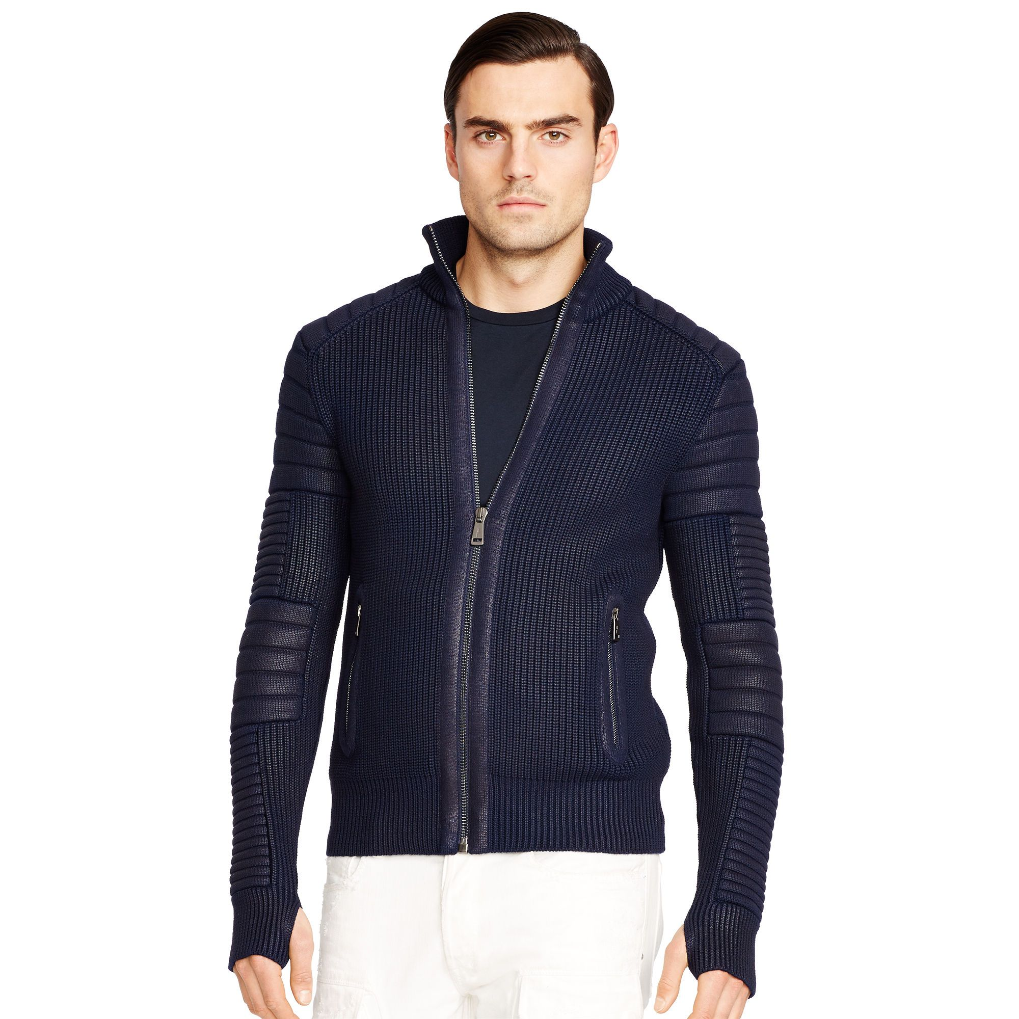 Ralph Lauren Black Label Rubberized Merino Wool Sweater in Blue for Men  (Aviator Navy)