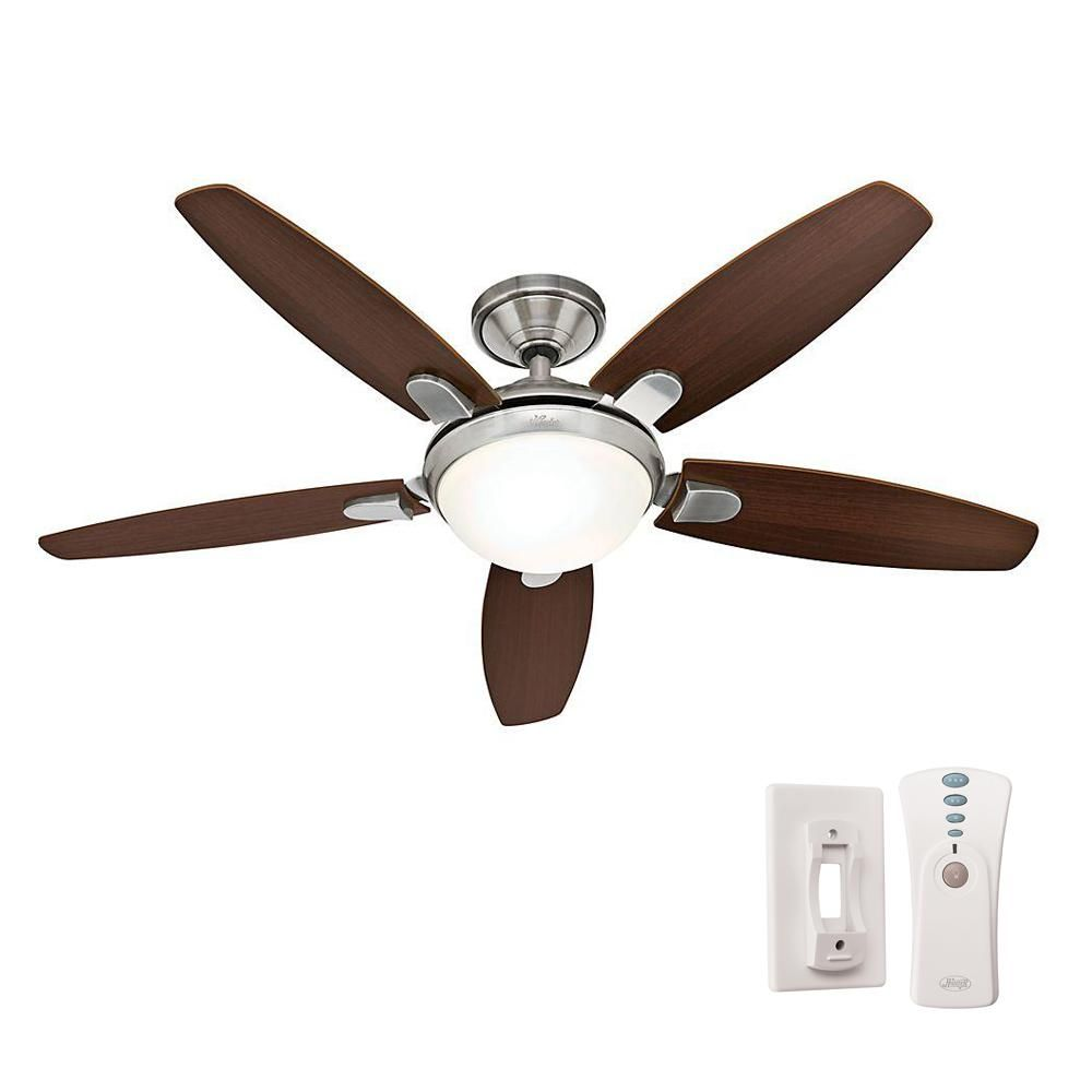 Hunter Contempo 52 In Indoor Brushed Nickel Ceiling Fan With Universal Remote 59013 The Home Depot