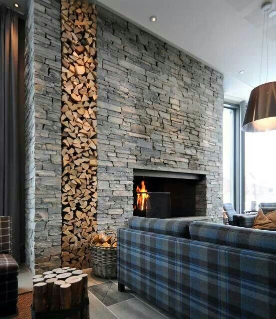 Perfect Stone Wall Interior Design Modern Stone Fireplace