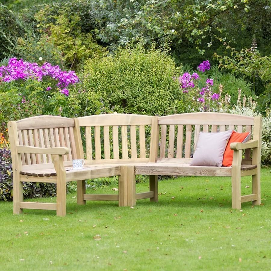 Corner garden bench large l shape shaped wooden h43 x w186